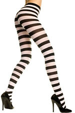 XL Sz White or Red + Black Stripe To Waist Tights Sexy Designer Lingerie P7419 Q