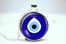 Evil Eye Glass Charm Necklace Pendant Protector Kabbalah Talisman Turkish Greek