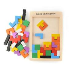 Wooden Tangram Brain Teaser Puzzle Tetris Game Educational Baby Kids Toy Gift #S
