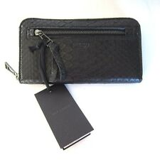 J-533156 New Belstaff Python Snake Skin Black Zipper Clutch Wallet Purse