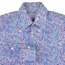 Liberty of London ITALY Blue Purple Floral Paisley Spread Collar Dress Shirt 16