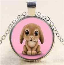 Bunny Rabbit on Pink Cabochon Glass Tibet Silver Chain Pendant Necklace