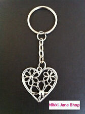 Silver Heart with Flowers Keyring - In Pretty Organza Gift Bag