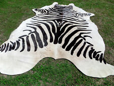 LARGE NEW LUXURY ZEBRA Print / Printed COWHIDE SKIN Rug steer COW HIDE - DC5287