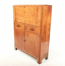 Retro Vintage Bureau Oak Walnut Writing Desk Cabinet 1960s 70s Art Moderne Deco