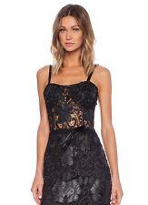 NWT $792 ALEXIS MONZON MINI FAUX LEATHER PU LACE Bustier Dress,sz.L