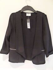Wallis black stretchy cropped open front jacket size 10 BNWT