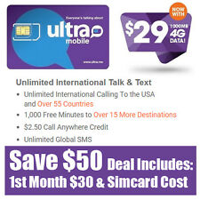 Free 1st Month - Ultra Mobile Prepaid SIM Card $29 Unlimited Talk Text & 1GB Web