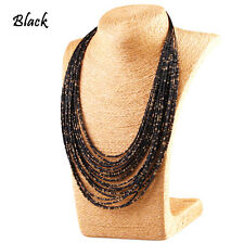 Vintage Multi Layer Chain Long Necklace Seed Beads Fashion Jewelry Womens
