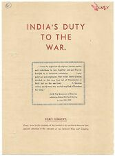 """India WW2 War Effort circular about """"The Rajput Hero"""" by cricketer Begg"""