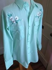 VTG Karman Country Western Cowboy FLORAL Long Sleeve Pearl Button Shirt LARGE L