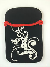 "FUNDA DE NEOPRENO 10"" PULGADAS PARA TABLET EBOOK COLOR NEGRO CON FLORES BLANCAS"