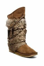 Australia Luxe Collective Women's Rabbit Atilla Fur Boots Chestnut Sz 7