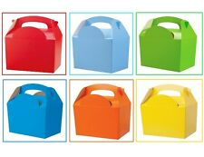 24 Boys Assorted Plain Coloured Childrens Meal Food Birthday Party Bag Boxes