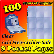 100 9 POCKET PAGE PROTECTORS ULTRA PRO SILVER SERIES FACTORY NEW FREE SHIPPING