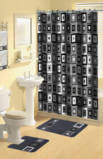 Geometric Black Blocks Squares 17 Pc Bath Rug Shower Curtains Hooks Towel Set