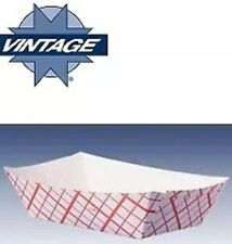 100ct Food Trays 6 oz Baskets Boats Plaid Printed Paper Cardboard Concession NEW