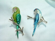 Vintage Pair Enamel and Rhinestone Parot Scatter Pins in Gift Box C1950
