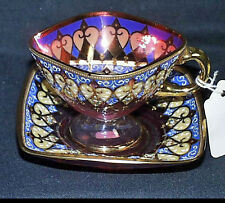 Fine Victorian Cranberry Glass Moser - Style Bohemian Decorated Cup And Saucer