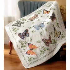 """Stamped Cross Stitch Kit Lap Quilt BUTTERFLY COLLECTION 45"""" x 45"""""""