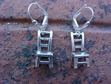 Sterling Silver Plated Ladderback Chair3d Earrings Lever backs New