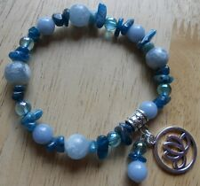 Angelite, Celestite, Aqua Aura and Apatite Unique Bracelet aa9