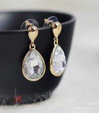 Boucles d`Oreilles Clous Goutte Transparent Brillant Class Mariage Vintage CC 2