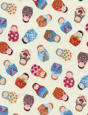 Timeless Treasures Russian Nesting Matryoshka Dolls Cream Fabric