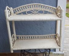 Vintage Wicker Shelf White Wall Or Stand Alone Bathroom Bedroom Shabby or Paint