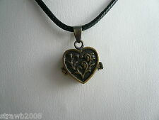 Steampunk Brass Hidden Secrets Heart Locket Pendant Black Cord Gothic Romantic
