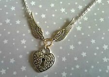 Vintage Style Kitsch Steampunk Silver Flying Wings Heart Padlock Necklace