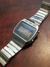 vintage 1980s Seiko Quartz LC digital alarm all stainless steel men's watch