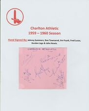 CHARLTON ATHLETIC 1959-60 RARE ORIG HAND SIGNED PAGE WITH 6 X SIGS INCL SUMMERS