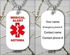MEDICAL ALERT ASTHMA EMERGENCY PERSONALIZED DOG TAG PENDANT NECKLACE - ij7y
