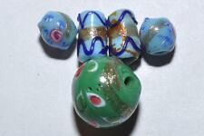 COLLECTION OF 5 VENETIAN ART DECO FANCY GLASS BEADS
