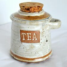 VTG Golden Age Pottery Tea Canister Jar Holder Crock Cork Hand Thrown Stoneware