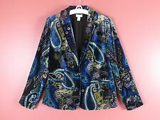 CJ0388- NEW CHICO'S Woman Rayon Nylon Velvet Jacket Multi-Color Artwork 0 XS-S