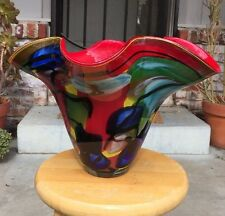 Stunning Large Murano Multi Cased Color Glass Abstract Vase Italy READ SHIP INFO