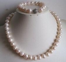 9-10mm weiße Süßwasser Perlenkette Armband-Set