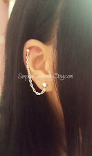 Tiny Heart Stud Lobe Cartilage Chain Helix Cuff Earring Elegant Simple Love Cute