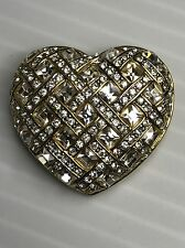 VINTAGE SIGNED SWAROVSKI CRYSTAL HEART BROOCH PIN