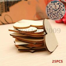 25Pcs Unfinished Wooden Love Heart Shape Wedding Plaques Art Craft Embellishment