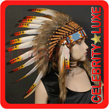 New 55cm Native Indian Chief Orange Feather Headdress Fancy Dress Costume