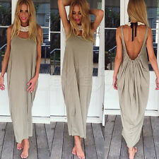 UK Women Boho Long Maxi Dress Loose Backless Lady Beach Evening Vintage Sundress
