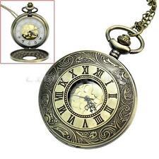 Mens Antique Hollow Design Steampunk Mechanical Pocket Watch Chain Pendant