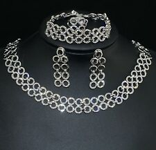 VF V473 Clear Crystal Alloy Earrings Bracelet Necklace Set Party Gift Ring 8#