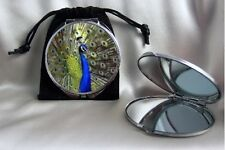 Pretty Peacock Bird Compact Mirror dual sided magnifying with pouch