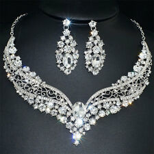Bridal Wedding Party Gift Clear Rhinestone Crystal Necklace Earrings One Set