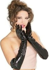 SUPERB PAIR GLOVES LONG VINYL PVC PATENT BLACK LACK GLOVES SEXY LINGERIE FW-42