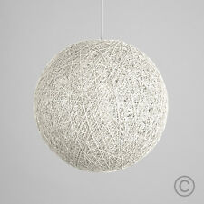 Contemporary 30cm White Wicker Abaca Ball Ceiling Light Pendant Shade Lampshade